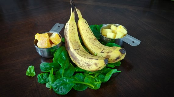 Banana, spinach, mango and pineapple