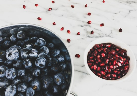 Blueberries and Pomegranate Seeds